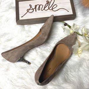 COACH. Taupe Snake Skin Heels 8.5